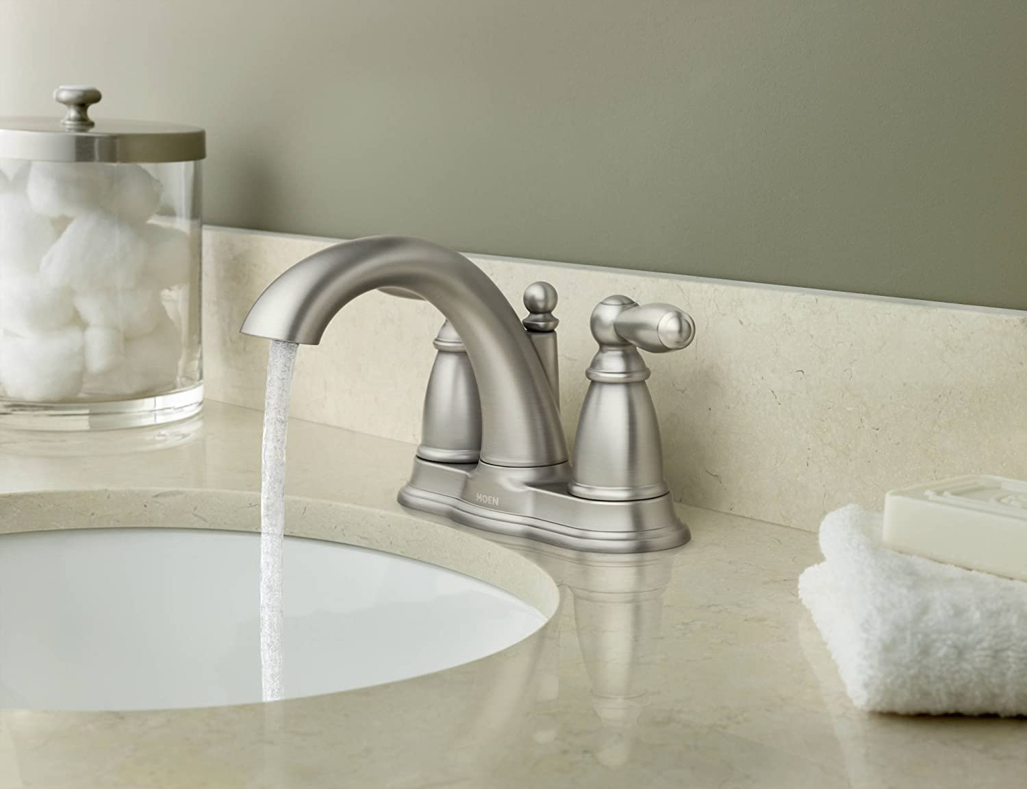 Attractive Moen 6610BN Brantford Brushed Nickel Two Handle High Arc Bathroom Faucet  With Drain Assembly, Brushed Nickel   Touch On Bathroom Sink Faucets    Amazon.com