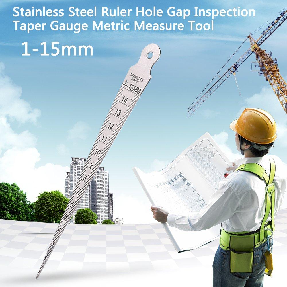 Wedge Feeler 1-15mm Stainless Steel Ruler Welding Inspection Taper Gauge Metric Imperial Measure Tool Measure Tools Stainless Steel Taper