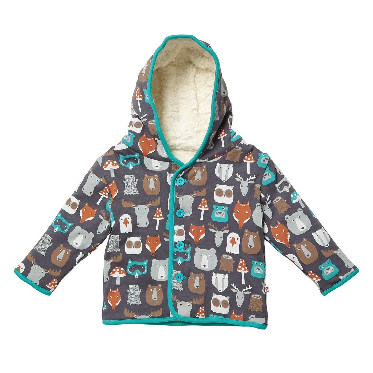 Piccalilly Organic Cotton Unisex Girls Boys Brown Forest Friends Reversible Baby Toddler Jacket