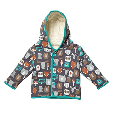 0c90dc2ac865 Piccalilly Organic Cotton Unisex Girls Boys Brown Forest Friends Reversible  Baby Toddler Jacket  Amazon.co.uk  Clothing