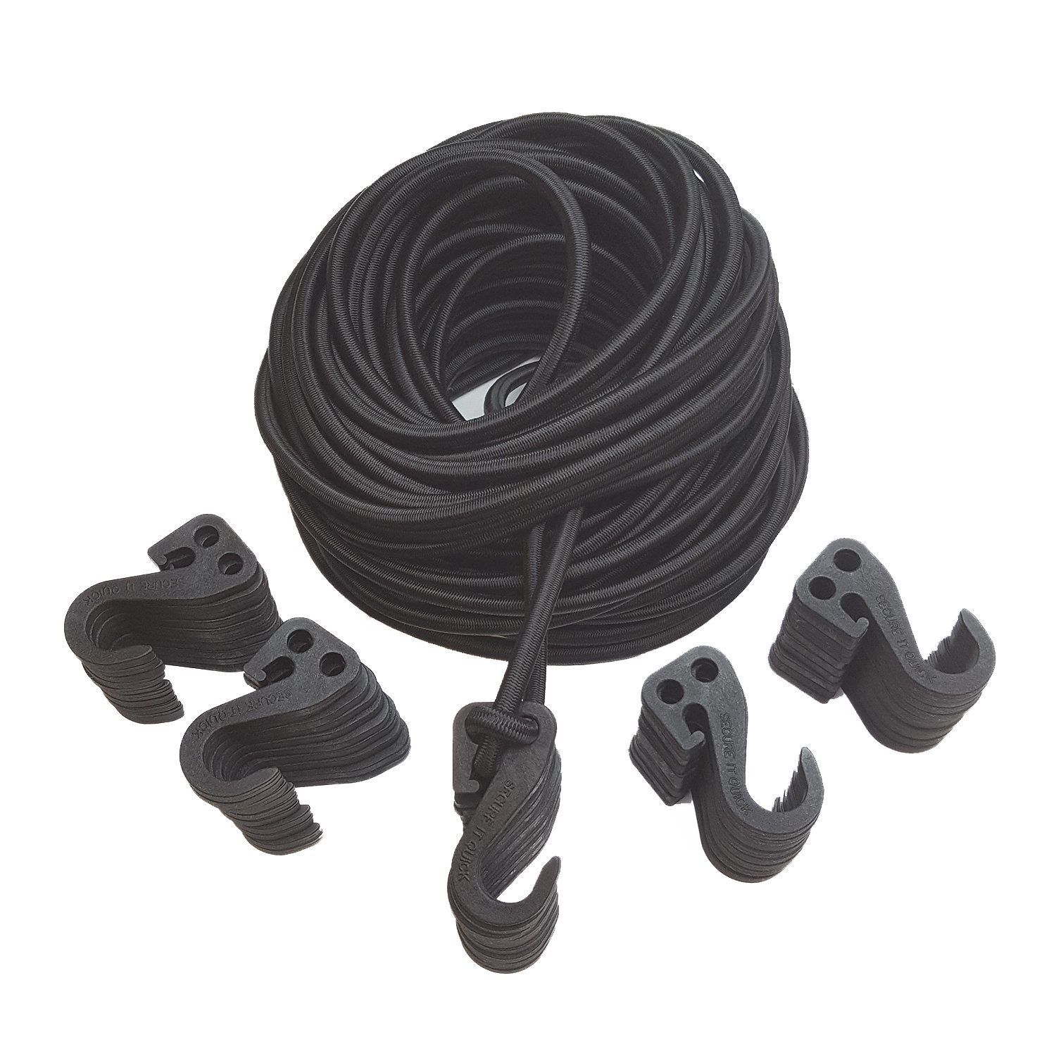 3/8'' Bungee Cord Kit 100' with 50 Adjustable SIQCN Hooks''No Crimps Needed'' (Black)