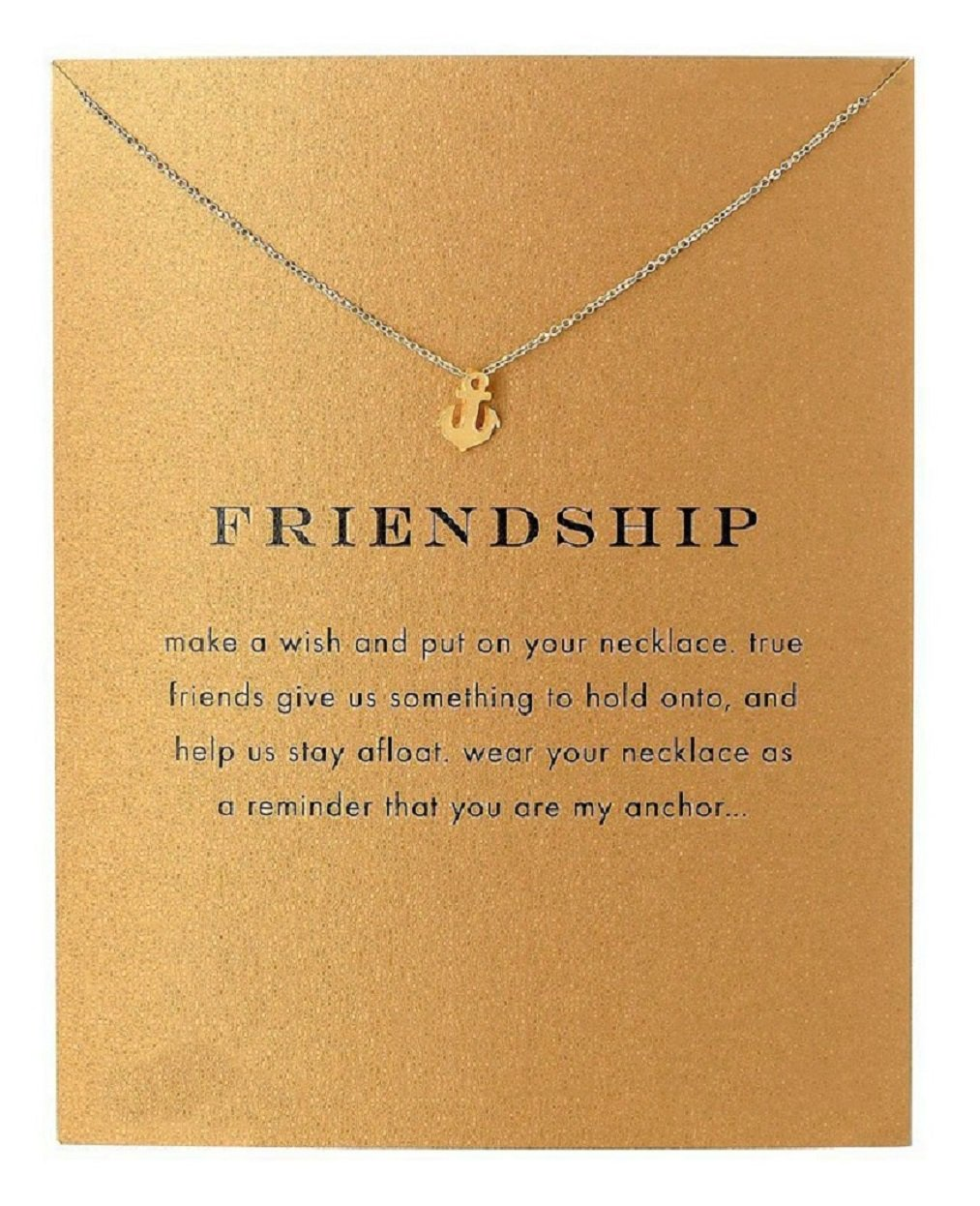 Clavicle Necklace with Card, Small Dainty Pendant,Greeting Card with Best Wish, Delicate and Classy Party Jewelry Favors, Alloy HOOPE