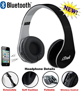 iTrak Wireless Bluetooth Headphone; Over Ear; Foldable; Noise Canceling; Audio Streaming &
