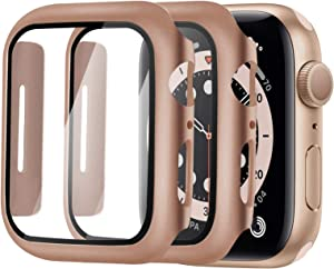 Alinsea Screen Protector for Apple Watch 44mm Series 4/5/6/ SE Tempered Glass [2 Pack] [Full Coverage] Bumper Hard Case [with Screen Protector Built-in] Overall Protective Cover-Rose Gold