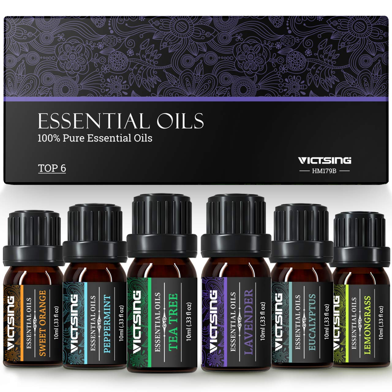 VicTsing Essential Oils Gift Set for Aromatherapy (10ml*Top 6), 100% Pure Scented Oils for Oil Diffusers-Lavender, Lemongrass, Tea Tree, Eucalyptus, Sweet Orange, Peppermint