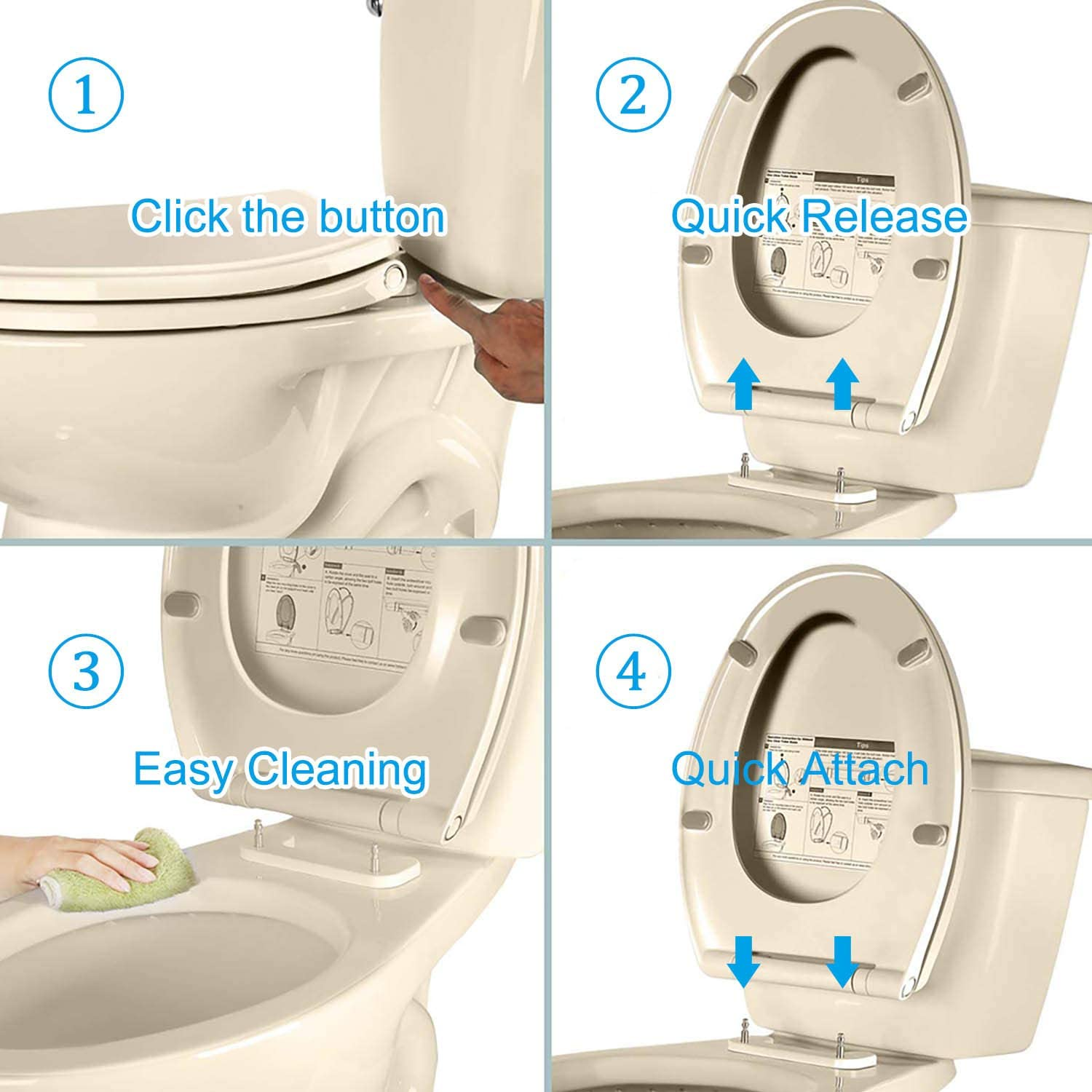 Elongated+white Hibbent One Click Toilet Seat Cover -easily Install and Clean