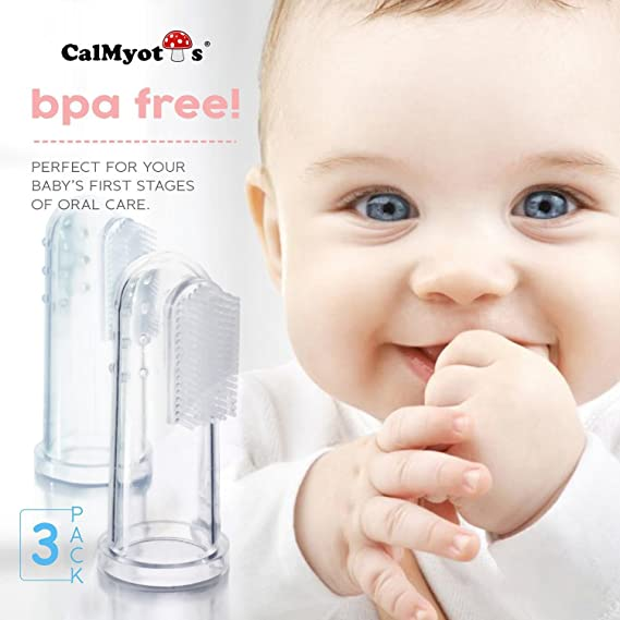 CalMyotis® Bebé cepillo de dientes dedo Cepillo de dientes con caja - Para Dientes y Encías Masaje (3 unidades): Amazon.es: Bebé