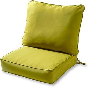 Greendale Home Fashions AZ7820-KIWI Lime Outdoor 2-Piece Deep Seat Cushion Set