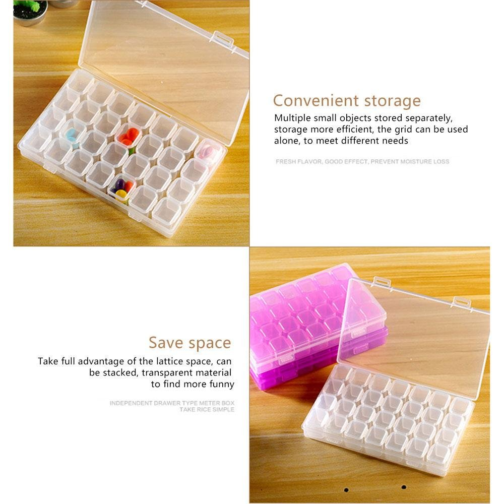 FOONEE 28 Slots Diamond Embroidery Box, Plastic Organizer Container, Storage Box Stones Dividers for DIY Art Craft/Jewelry/Pills/Small Parts