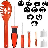 SKINOSM Pumpkin Carving Kit for Kids, 5 Easy Halloween Pumpkin Carving Tools Set, 2 LED Candles & 10 Carving Stencils