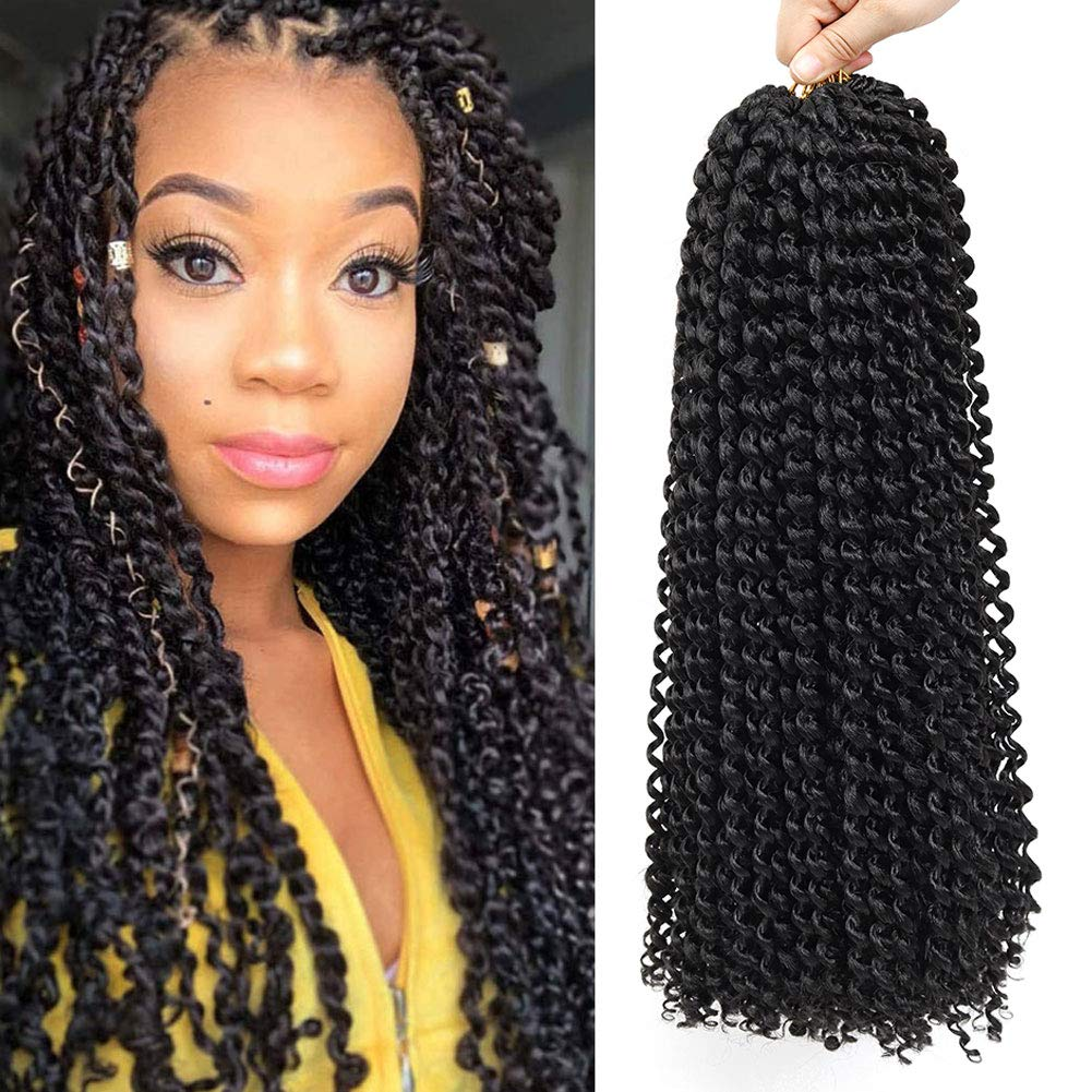 22 Inch 7 Packs Passion Twist Hair Long Inch Crochet Braids Hair Water Wave for Passion Twist Braiding Hair Extensions (1B) by ASTENT