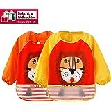2er Pack Baby lätzchen mit ärmeln Wasserdicht - Essen und Play Smock Schürze für Kleinkinder von 6 - 36 Monate (Orange/Gelb Löwe)