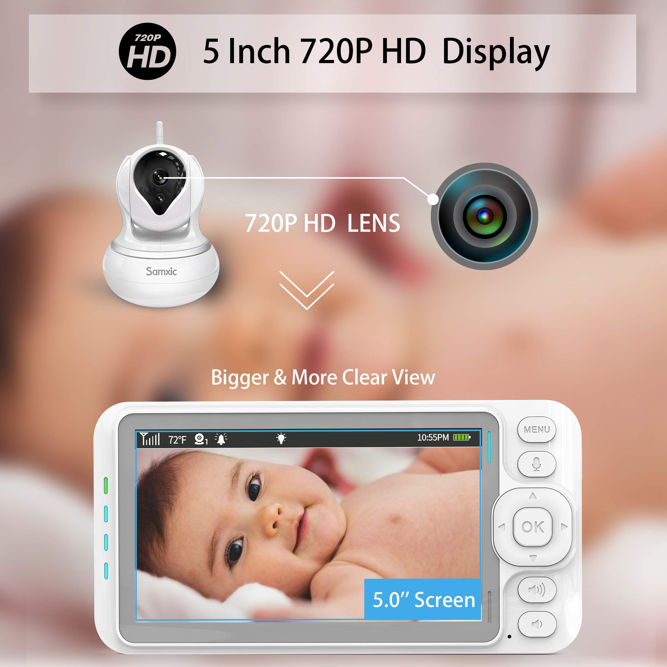 Samxic Video Baby Monitor with 720P Camera, 5 Inches Display, Crying & Temperature Alert, Two-Way Talk, No Glow Night Vision, Remote Pan & Tilt & Zoom, High Privacy Baby Monitor System by Samxic (Image #2)