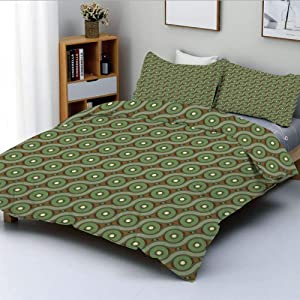 Duplex Print Duvet Cover Set Queen Size,Abstract Crisscrossing Wavy Linked Lines Circles Round Pixel Art DecorativeDecorative 3 Piece Bedding Set with 2 Pillow Sham,Reseda and Fern Green Amber,Best Gi