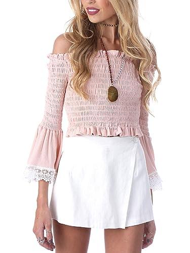 Simplee Apparel La mujer de manga larga de encaje stretch Flare Trim simple blusa Ruffle Off Shoulder Top camisa Bardot