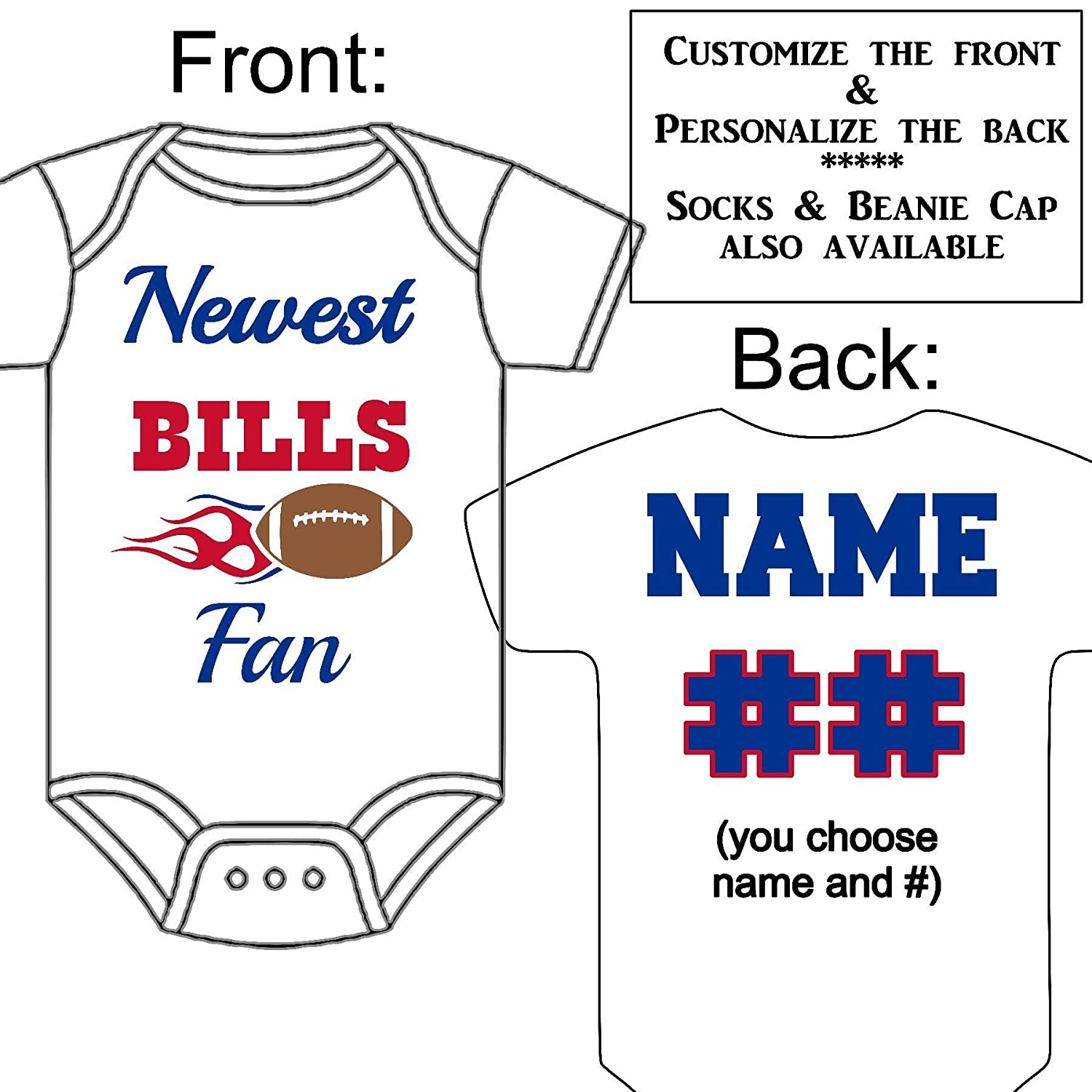 Bills Custom Personalized Name /& Number Infant or Toddler T-shirt