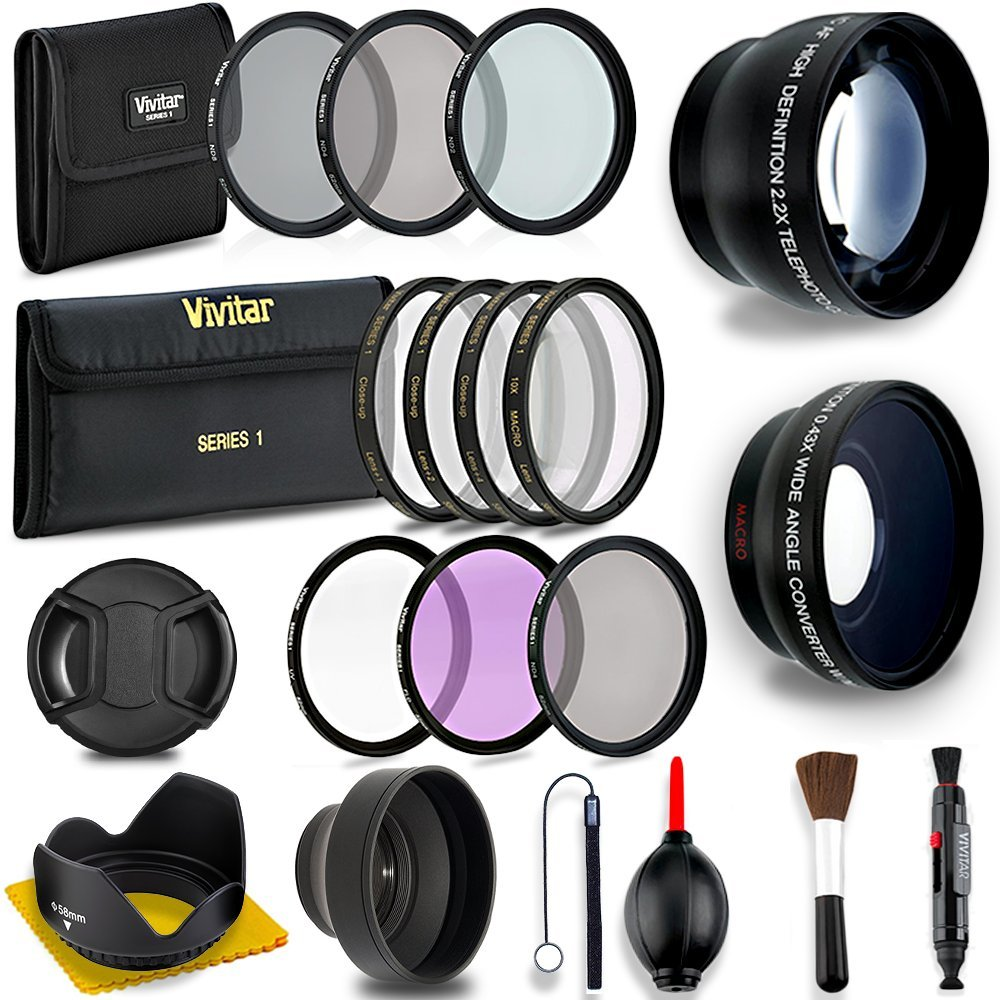58MM Professional Lens & Filter Bundle – Complete DSLR/SLR Compact Camera Accessory Kit – Lenses (Telephoto, Wide Angle), Filters (Macro, ND, UV, CPL, FLD), Cleaning Tools + MORE Accessories by Deals Number One