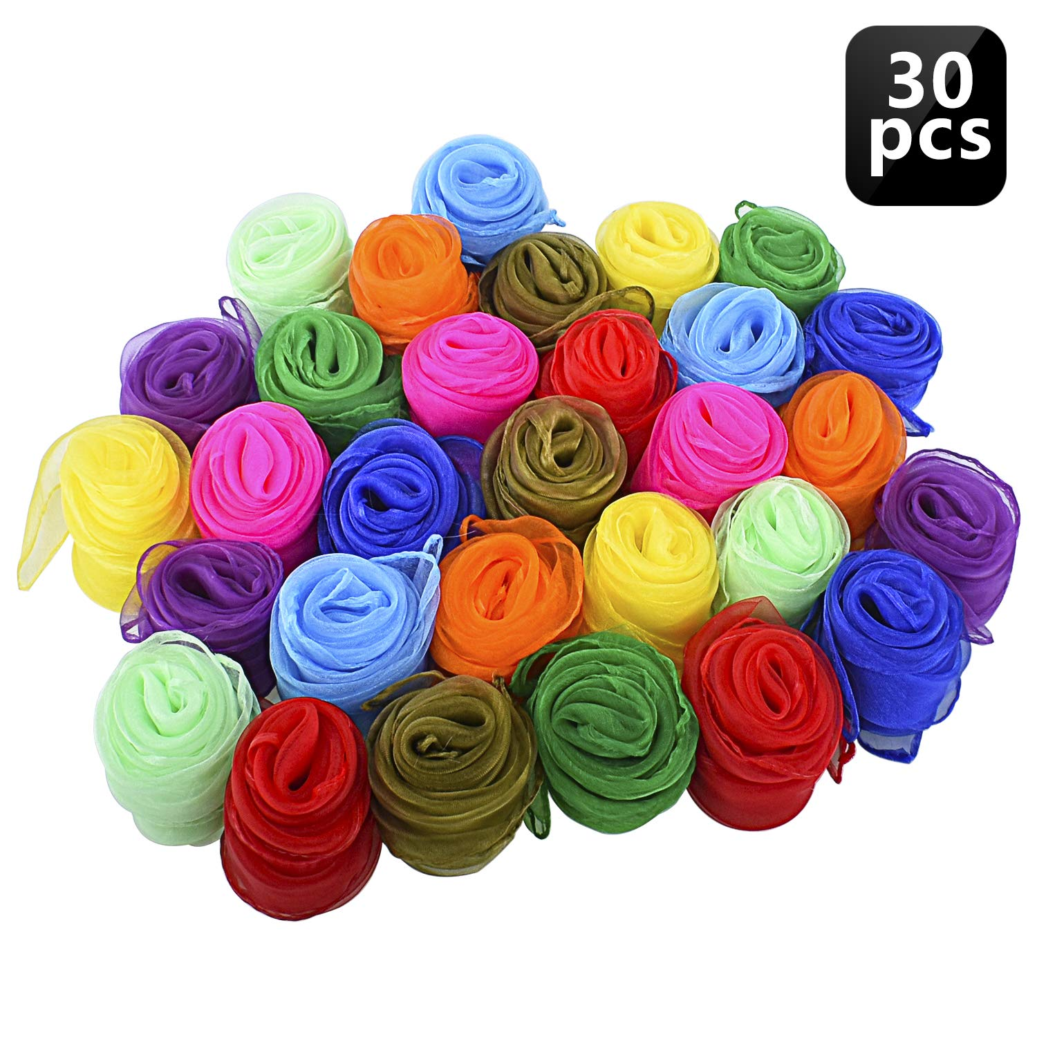 Blovec Juggling Silk Scarves, 30 pcs Square Dance Scarf Magic Movement Scarves Performance Props Accessories 24 by 24 Inch in 10 Colors by Blovec