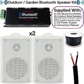 Fiesta en el jardín/Barbacoa al Aire Libre Kit de Altavoces – Bluetooth/inalámbrico Mini estéreo Amplificador y Altavoces 2 Blanco – cablefinder: Amazon.es: Electrónica