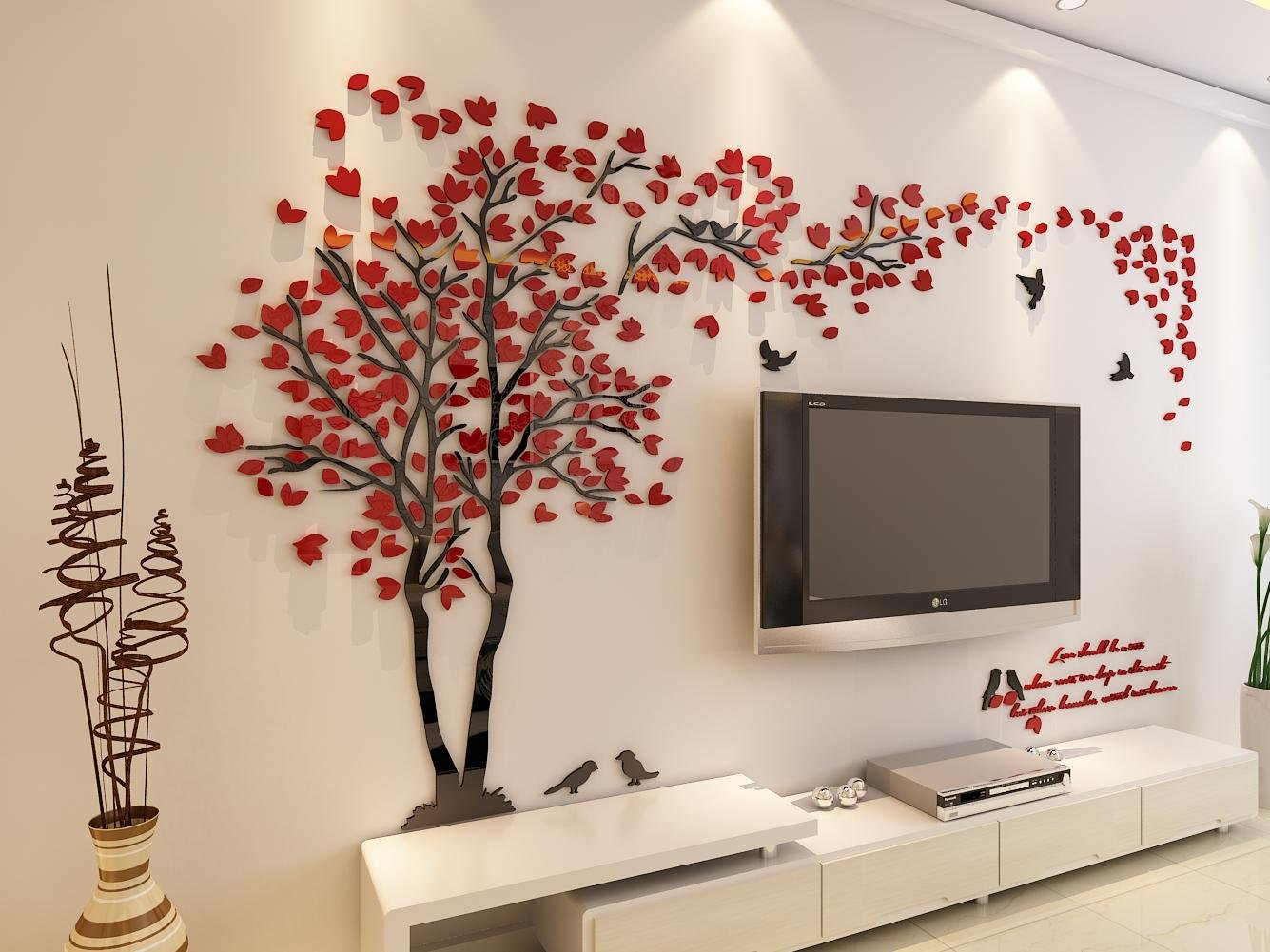 3d Couple Tree Wall Murals for Living Room Bedroom Sofa Backdrop Tv Wall Background, Originality Stickers Gift, DIY Wall Decal Home Decor Art Decorations (Large, Red) by Hermione Baby (Image #3)