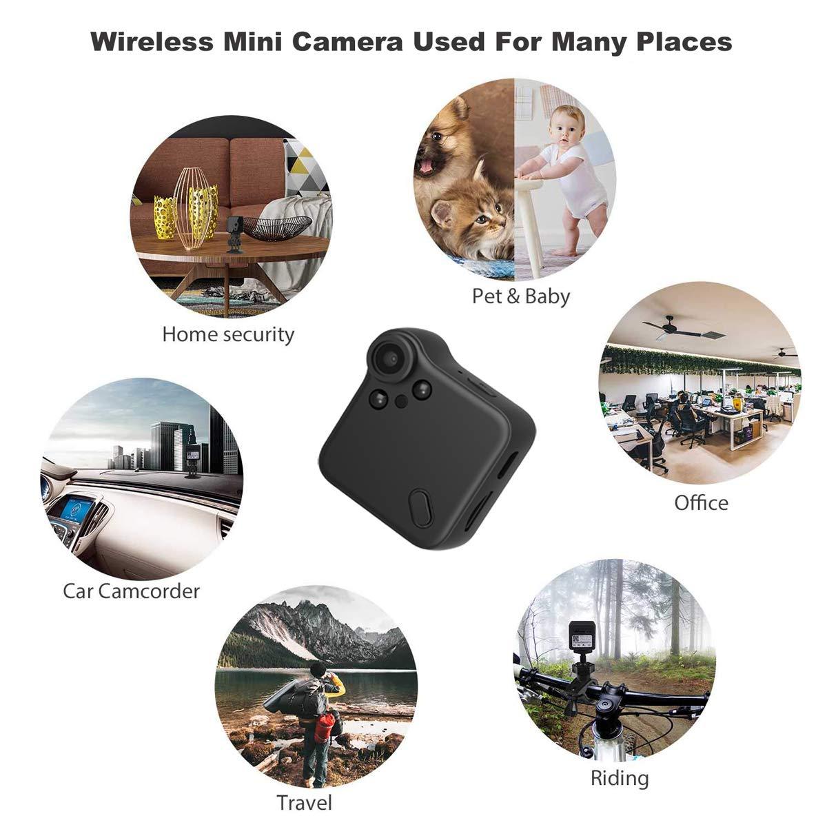 MANKUJIN Mini Nanny Cam WiFi HD 1080P Cop Cam with Night Vision Motion Detective Security Cameras Hidden Camera Free 32G Micro SD Card /& Reader Spy Camera Wireless Hidden