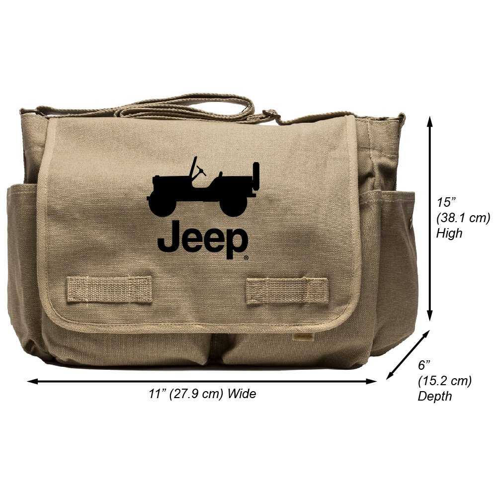 Grab A Smile JEEP CJ Heavyweight Canvas Messenger Shoulder Bag, Khaki & Black