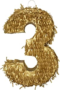 LYTIO Golden Number 3 Small Pinata Perfect for 3rd Birthday Celebrations, Anniversaries, Party Supplies, Decorations, Centerpiece, Photo Props, (Three Piñata)