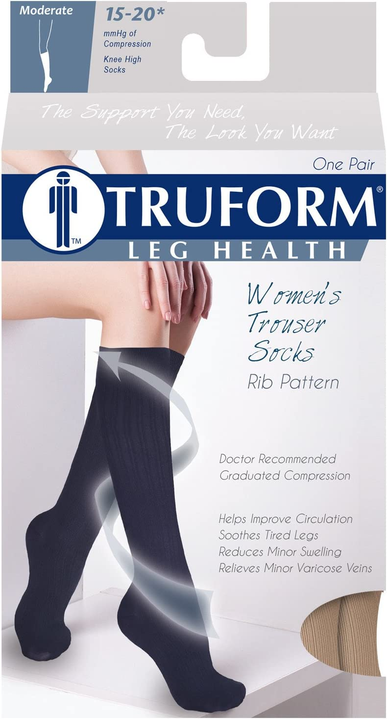 Womens Dress Socks Black Diamond Knit 15-20 mmHg Small Knee High Over Calf Length Truform Compression Socks