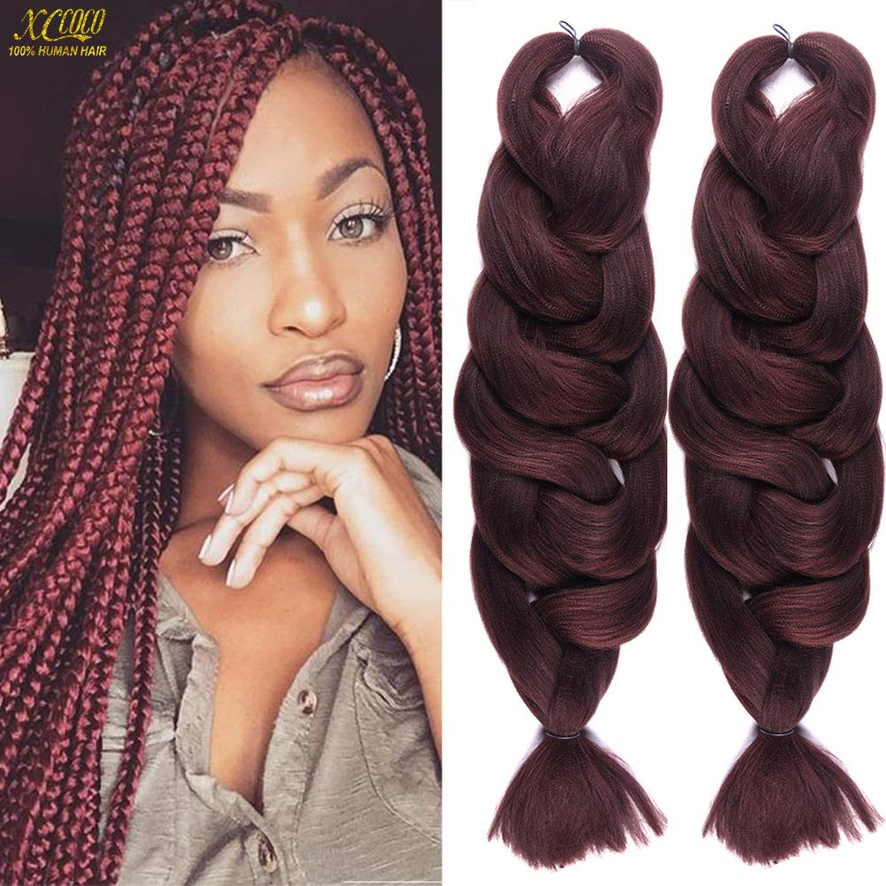 2 Pack Jumbo Braiding Hair 33 Color Kanekalon X,Pression Braiding Fiber  Hair Extensions African Jumbo