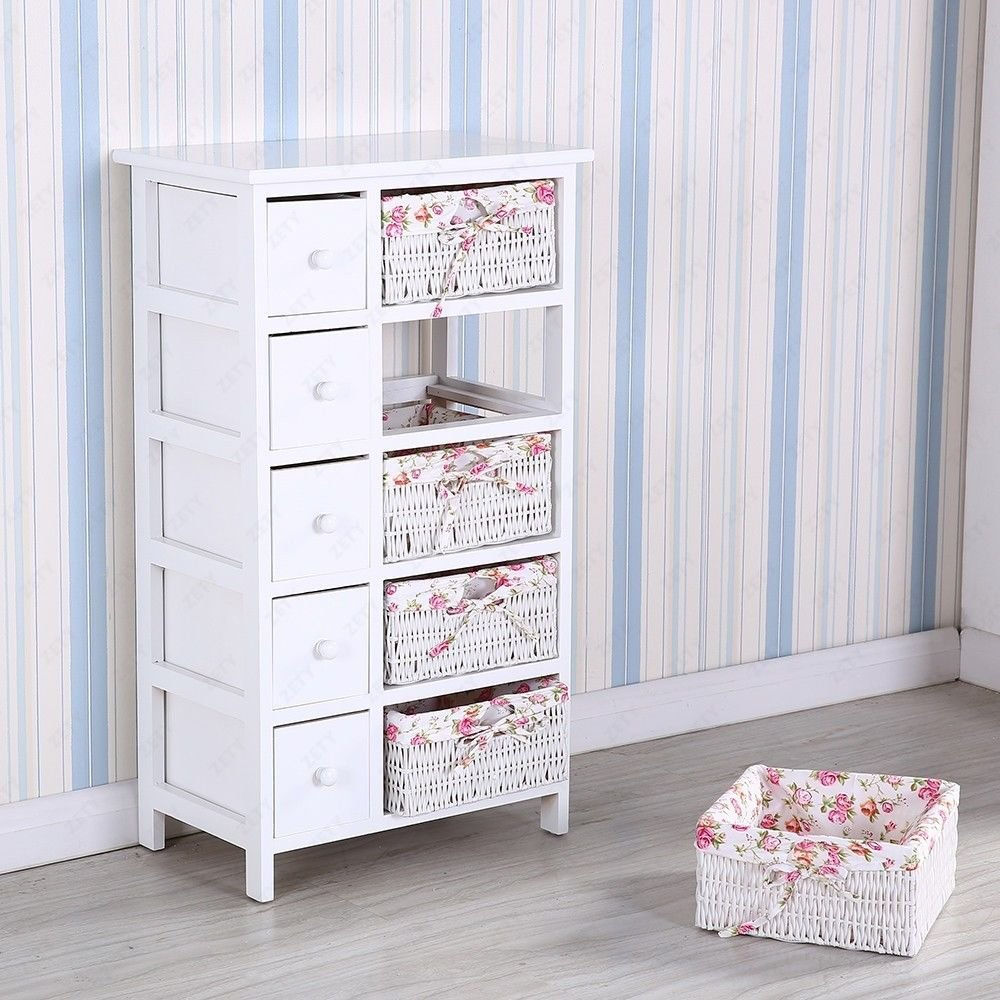 5 Drawers 5 baskets Storage Dresser Chest Cabinet Wood Bedroom Furniture by Heaven Tvcz (Image #7)