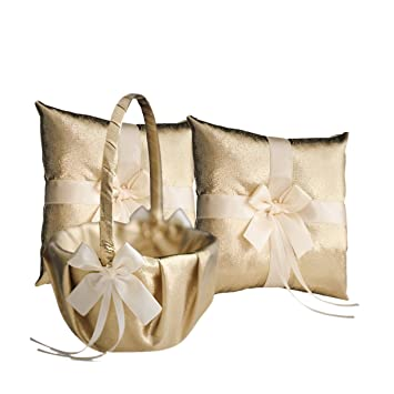 273ddbc50 RomanStore GOLD & IVORY Wedding Ring Bearer Pillow and Flower Girl Basket  Set – Satin &