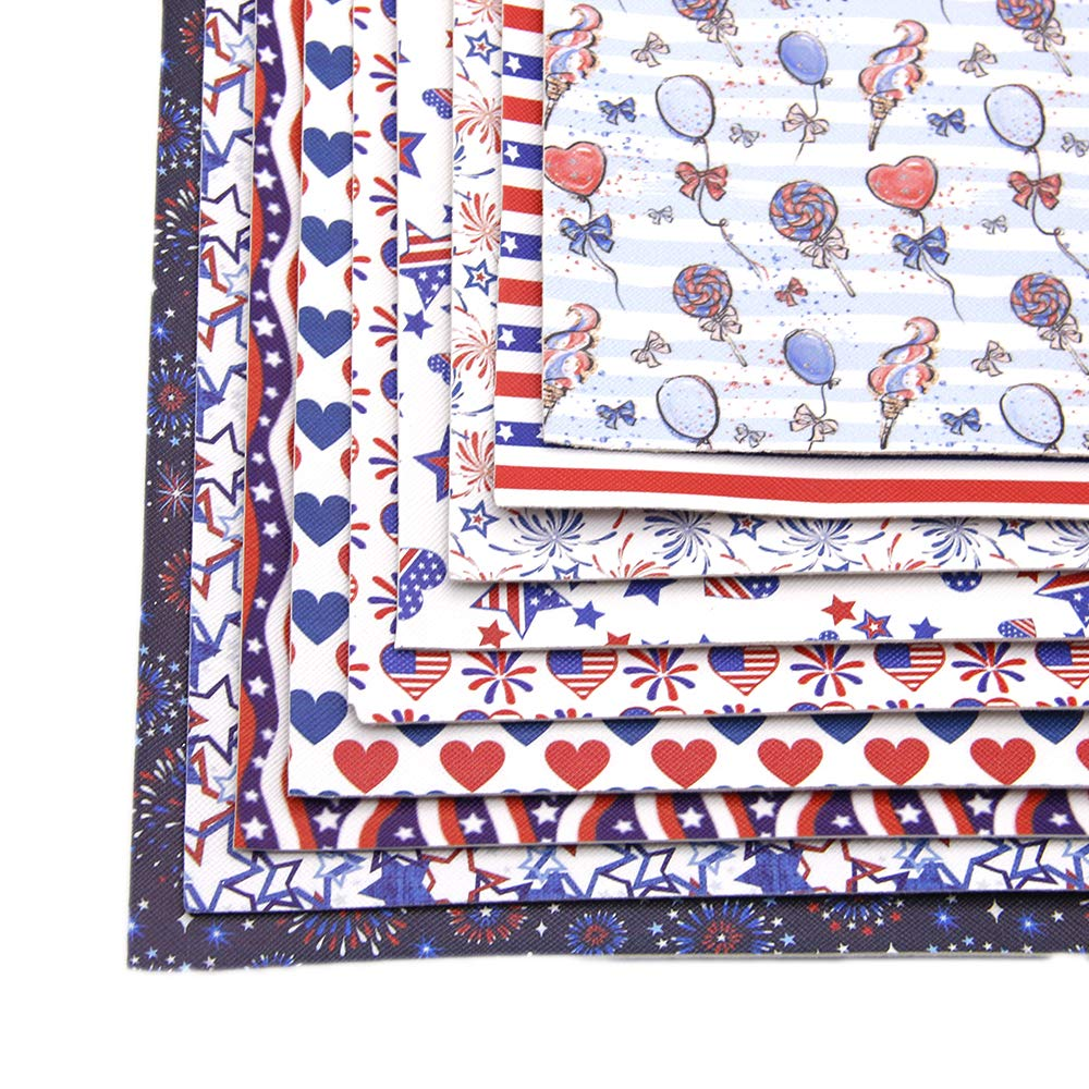 David Angie July 4th The Independence Day Theme Printed Faux Leather Fabric Sheet 9 Pcs 8'' x 13'' (20 cm x 34 cm) DIY Handmade Material for Celebrate (Festival Leather B) by David Angie (Image #2)