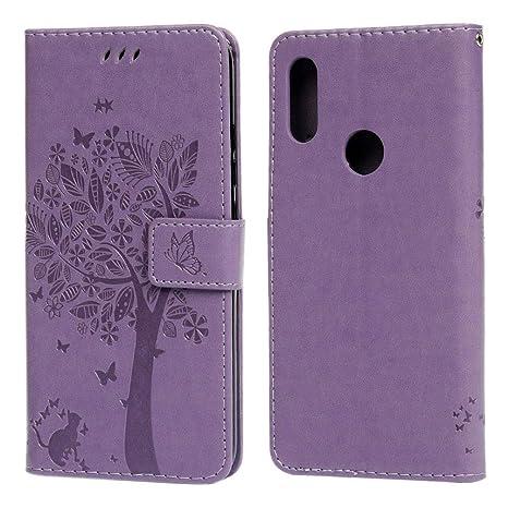 Funda Xiaomi Redmi 7, Carcasa Libro de Cuero Ultra Delgado Retro Elegante con ID Tarjeta de Crédito Tragamonedas Soporte de Flip Cover Estuche de ...