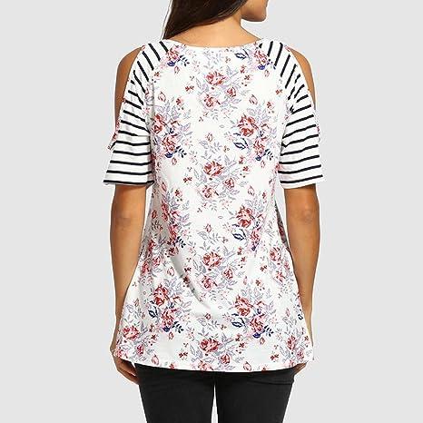 Camisa de Mujer Ropa De Mujer Blusa De Mujer Elegante Verano Camisa de Mujer Camiseta con Hombros Descubiertos Blusa con Estampado Floral con Botones de ...