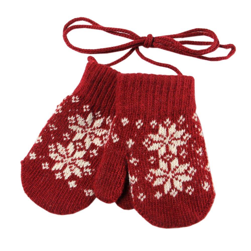 WARMEN Fingerless Wool Knit Gloves Mittens Winter Hand Warmer for Gril Boy Children (Black, One size)