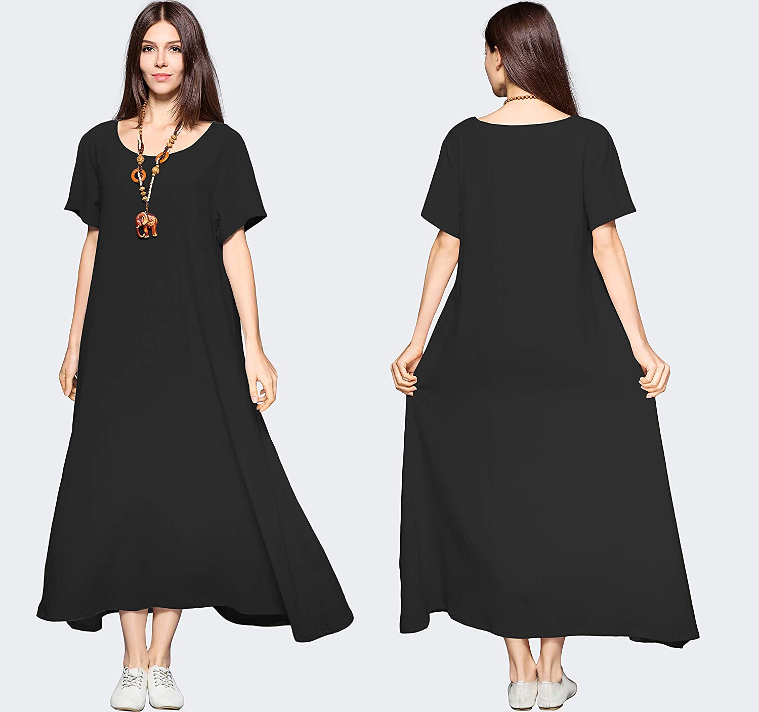 419d1d9d2a1f Anysize Side Pockets Linen Cotton Soft Loose Dress Spring Summer Plus Size  Clothing F131A at Amazon Women s Clothing store
