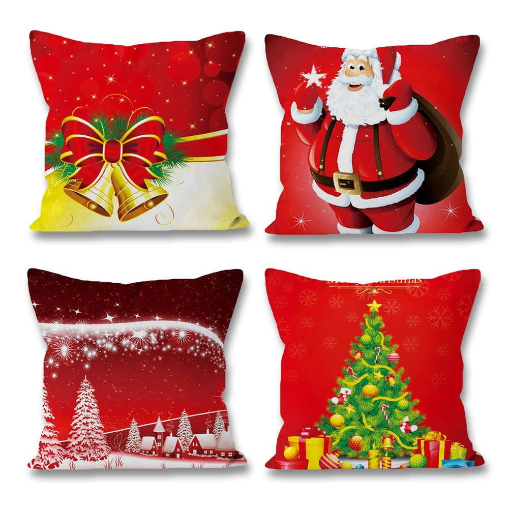3614c0989b Christmas Pillow Covers Set of 4 16 x 16 inch, Jingle Bell Vintage Santa  Claus Christmas Tree Red Cushion Throw Pillow Case for Home Bed Sofa Couch  Decor by ...