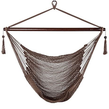 Prime Garden Hammock Chair Caribbean Deluxe Soft Spun Polyester Rope Swing  Chair Max Weight