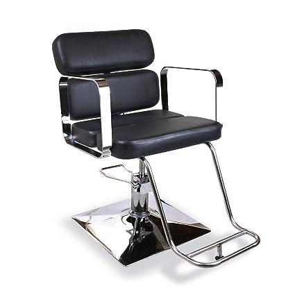 Moderna silla de peluquería cromada estilo barbero para peluquería ...