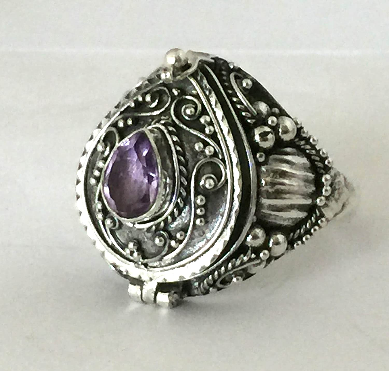 Purple Amethyst Tear drop Poison Ring Locket Sterling Silver Secret Compartment