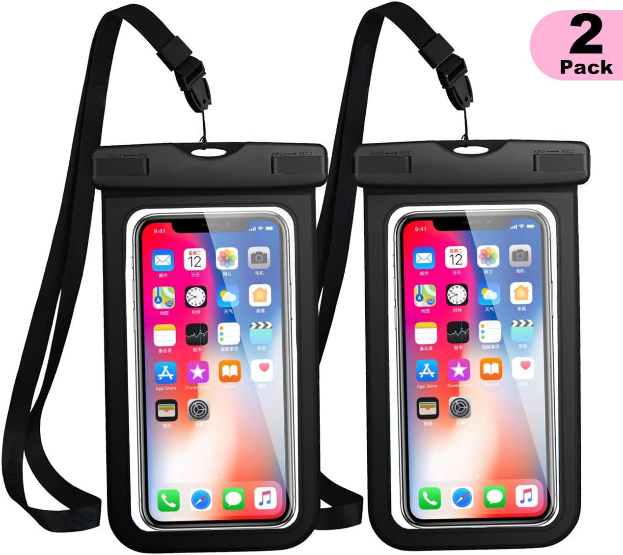 """WJZXTEK Universal Waterproof Case, Waterproof Phone Pouch for iPhone 11 Pro Max XS Max XR X 8 7 6S Plus Samsung Galaxy s10/s9 Google Pixel 2 HTC Up to 7.0"""",IPX8 Cellphone Dry Bag -2 Pack"""