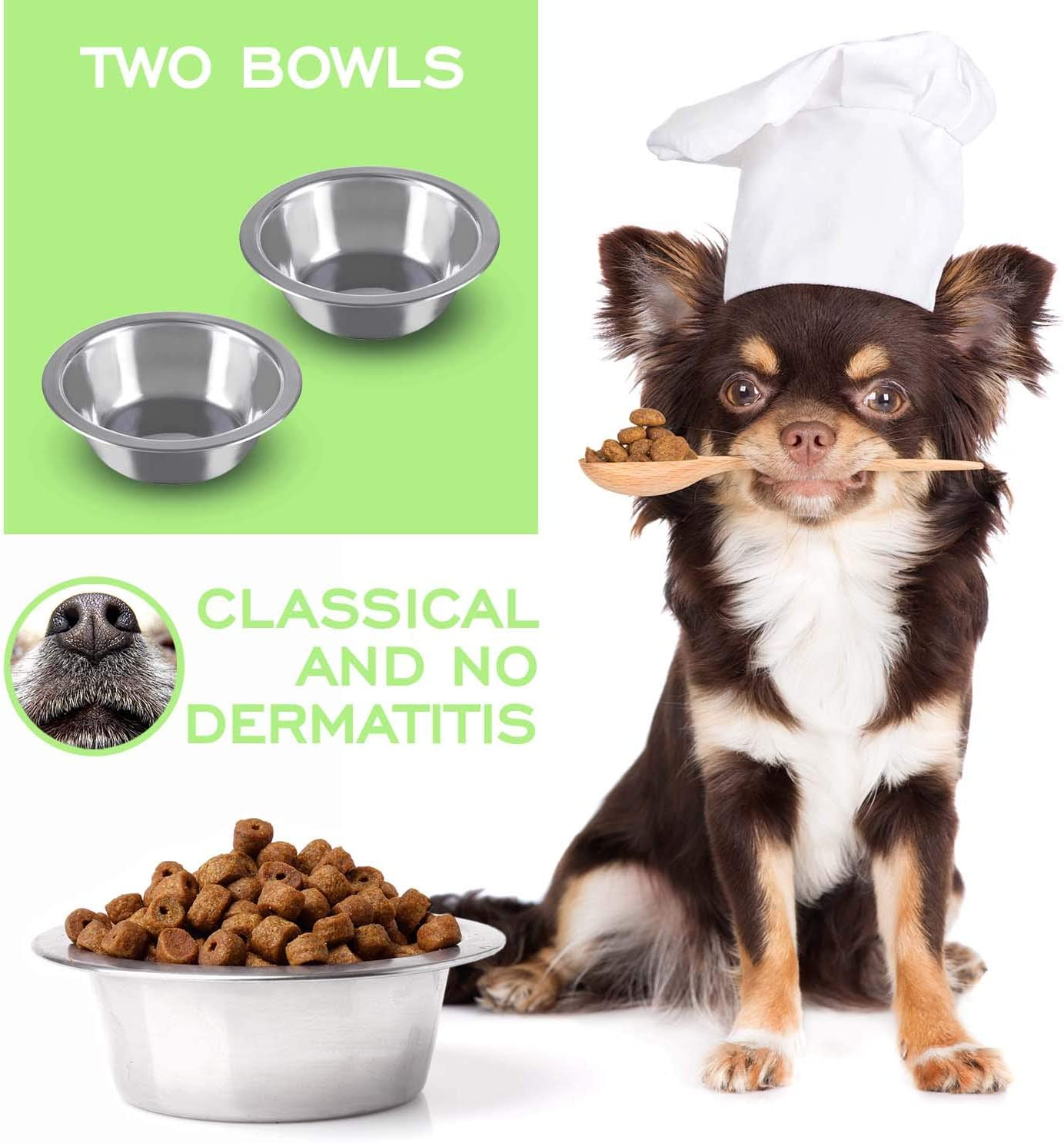 Petriz Metal Pet Bowls, Stainless Steel Dog Bowl Set of 2 Coop Cup 8 Ounce for Dogs, Puppies, Cats, Rabbits, Chinchilla, Small Food and Water Dishes