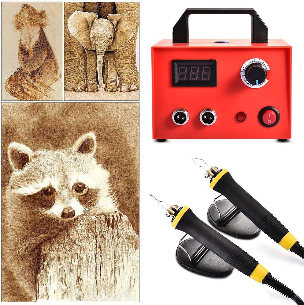InLoveArts 25W pyrogravure stylo machine kit machine /à bois professionnel 23 astuces pour br/ûler du bois courge outils de bricolage en bois Single Hole