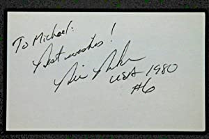 Bill Baker 1980 Olympics Hockey MIRACLE ON ICE Autograph 3x5 Signed Index Card - MLB Autographed Baseball Cards