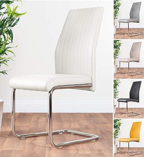 Furniturebox Uk 2x Lorenzo Chrome Deep Foam White Faux Leather Dining Chairs Seats Metal Legs Amazon Co Uk Kitchen Home