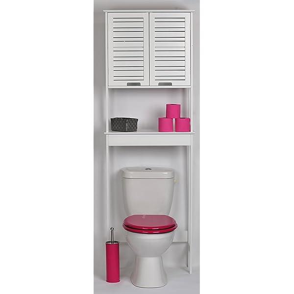 TENDANCE Mueble para baño WC - 2 puertas y 1 estante - Diseño puro ...