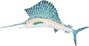 Marlin Stencil, 15 x 8 inch (L) - Mosaic Fish Sailfish Wall Stencils for Painting Template