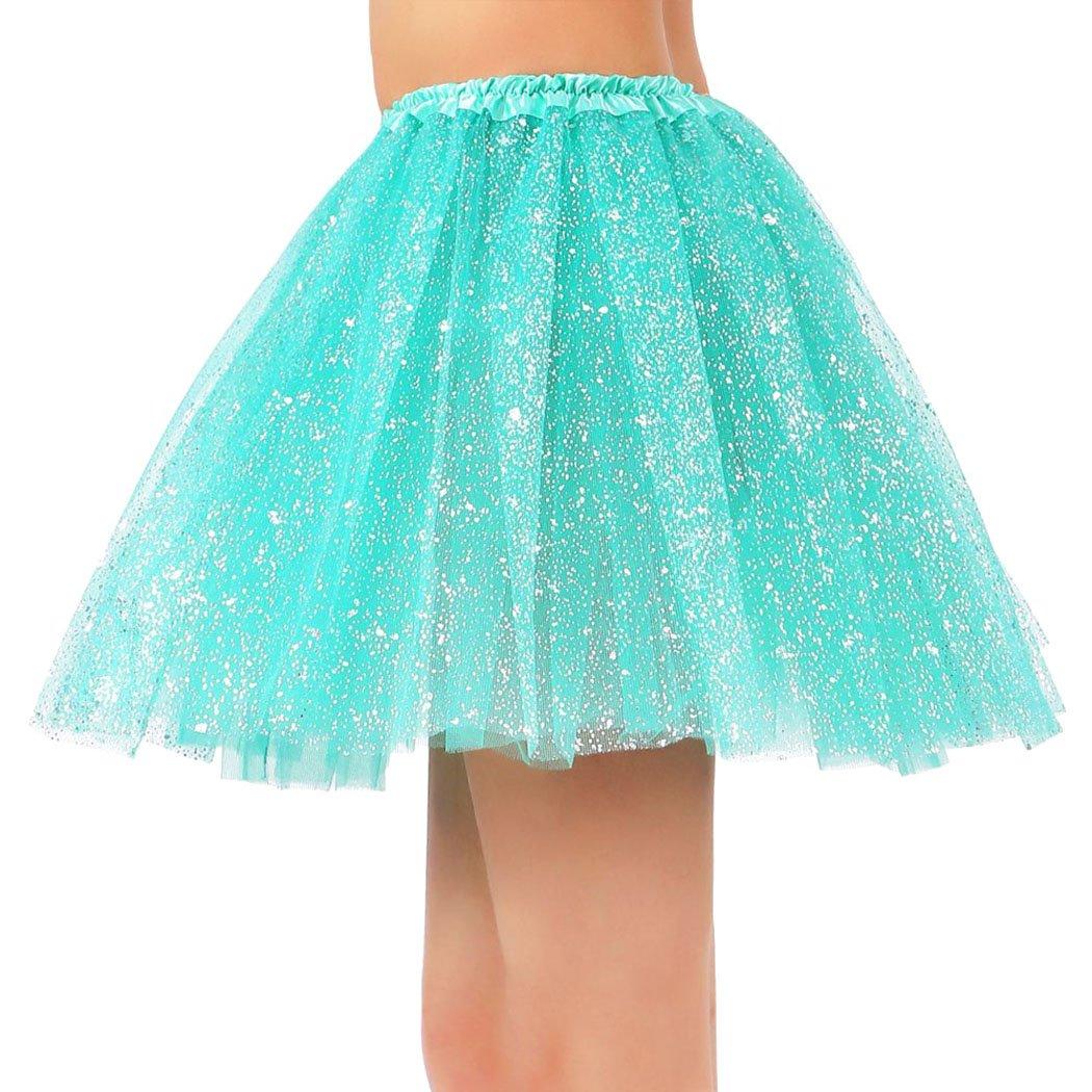 Siero Womens3 Layered Colored Fairy Princess Elastic Tutu Tulle Skirt Buish Green