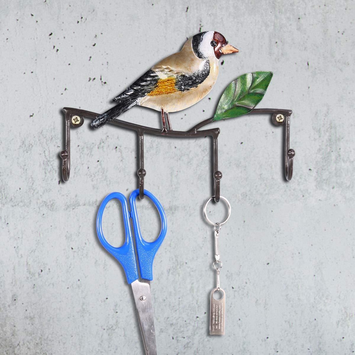 Hat Coat Hanger Hook Door Tooart Hook Over Door Hanger Bird Wall Hook Hierro Wall Manger Wall Mounted Coat Key Hat Hanger con 4 Ganchos