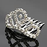 Mefeir Mini Charming Rhinestone Circle Crown Comb Hair Clip Tiara (001#)